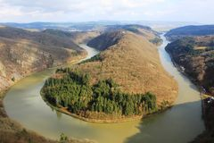 Beautiful view on the Saar river loop in autumn at Mettlach, Germany. Overview of river Saar, the loop near Mettlach, Germany. The Saar is a river in Stock Photo