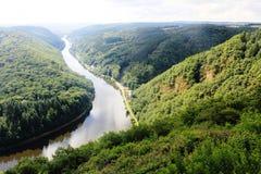 Beautiful view on the Saar river loop at Mettlach, Germany Stock Photos