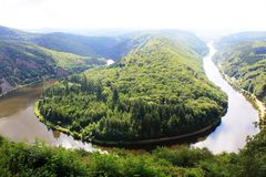 Beautiful view on the Saar river loop at Mettlach, Germany Royalty Free Stock Images