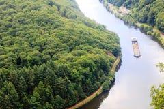 Beautiful view on the Saar river loop at Mettlach, Germany Royalty Free Stock Image