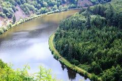 Beautiful view on the Saar river loop at Mettlach, Germany Stock Images