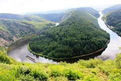 Beautiful view on the Saar river loop at Mettlach, Germany Stock Photography