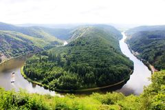 Beautiful view on the Saar river loop at Mettlach, Germany Royalty Free Stock Images