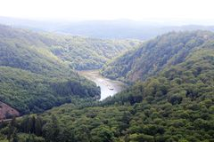 Beautiful view on the Saar river loop at Mettlach, Germany Royalty Free Stock Photography