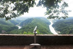 Beautiful view on the Saar river loop at Mettlach, Germany. The Saar  is a river in northeastern France and western Germany, and a right tributary of the Moselle Royalty Free Stock Photo