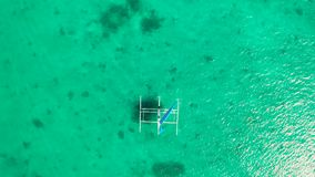 Beautiful view of the sailboat in the tropical sea, Boracay, Philippines. Sailing boat, top view stock video
