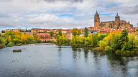 Beautiful view of Salamanca with Rio Tormes and Cathedral, Spain. Beautiful panoramic view of the historic city of Salamanca with Rio Tormes and New Cathedral Stock Photos