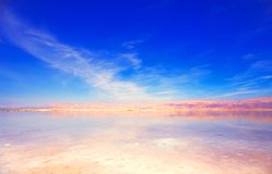Beautiful view of Dead Sea shore with clear water. Ein Bokek, Israel. Beautiful view of salty Dead Sea shore with clear water. Ein Bokek, Israel stock photo