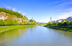 Beautiful view of Salzburg skyline with Festung Hohensalzburg and Salzach river in summer, Salzburg, Austria Royalty Free Stock Images