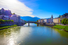 Beautiful view of Salzburg skyline with Festung Hohensalzburg and Salzach river in summer, Salzburg, Austria Royalty Free Stock Photo