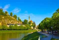 Beautiful view of Salzburg skyline with Festung Hohensalzburg and Salzach river in summer, Salzburg Stock Image