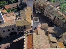 Beautiful view of San Gimignano from one of its towers Italy. Europe royalty free stock photography