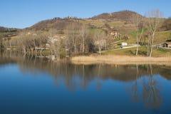 Beautiful view of San Ruffino lake Stock Images