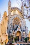 Church in Soller, beautiful gothic barock church on Majorca, Spain. Beautiful view of Sant Bartomeu church in Soller on Mallorca island, Spain royalty free stock image