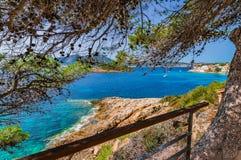 Seaside landscape of Sant Elm on Majorca island, Mediterranean Sea. Beautiful view of Sant Elm with the islands Es Pantaleu and Sa Dragonera, Mallorca Spain Stock Image