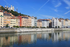Beautiful view of Saone river in Lyon city Stock Photos