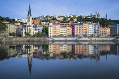 Beautiful view of Saone river in Lyon Royalty Free Stock Images