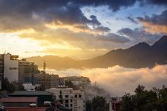 Beautiful view sapa valley Vietnam Panorama in morning sunrise with beauty cloud stock photography