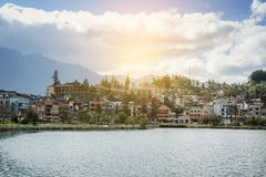Beautiful view sapa valley Vietnam Panorama in morning sunrise with beauty cloud stock photo