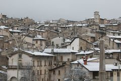 Beautiful view of Scanno historic village with the snow Royalty Free Stock Images