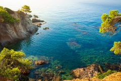 Beautiful view on sea bay in Lloret de Mar. Costa Brava, Spain stock photos