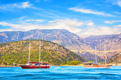 Beautiful view of the sea bay and pleasure yachts on a sunny summer day, Turkey. On a sunny day Stock Image