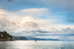 Beautiful view of the sea coast and clouds at sunset Stock Photography