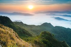 View of sea of fog in the morning at Phu Chi Dao in Chiang Rai, Thailand. Beautiful view of sea of fog in the morning at Phu Chi Dao in Chiang Rai, Thailand royalty free stock photography