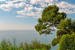 Beautiful view on sea. From the Santa Clotilde Gardens in Lloret de Mar, Spain Royalty Free Stock Photo