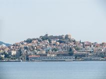 Beautiful view from the sea to the city on the island and the ancient fortress stock images