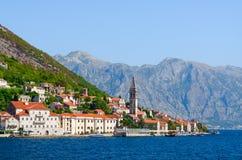 Beautiful view from sea to Perast, Kotor Bay, Montenegro Royalty Free Stock Photos