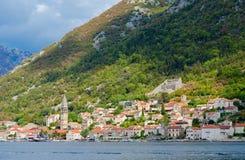Beautiful view from sea to resort town of Perast, Kotor Bay, Montenegro Royalty Free Stock Image