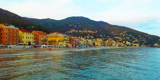 Beautiful view of the sea and the town of Alassio with colorful buildings, Liguria, Italian Riviera, Cote d`Azur, Italy stock images