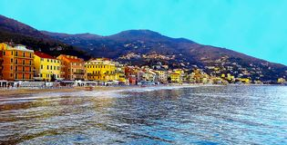 Beautiful view of the sea and the town of Alassio with colorful buildings, Liguria, Italian Riviera, Cote d`Azur, Italy stock image