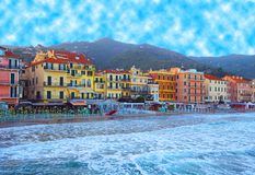 Beautiful view of sea and the town of Alassio with colorful buildings, Liguria, Italian Riviera,region San Remo,Cote d`Azur,Italy stock images