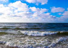 Beautiful view  sea waves  sky. Beautiful view of the sea waves and the sky Royalty Free Stock Photos