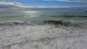 Beautiful view on seashore with waves. At sunny day stock video