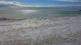 Beautiful view on seashore with waves. At sunny day stock video footage