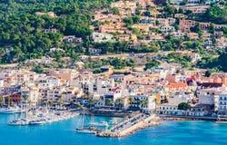Spain Mallorca, coast view of Port de Andratx marina harbor stock photos