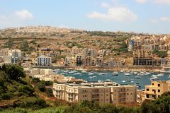 Beautiful view of the seaside resort town on the tip of the island of Malta. royalty free stock photo