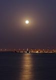 A beautiful view of Shaikh Khalifa Bridge at super moonrise Stock Photography