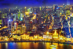 Beautiful view of  Shanghai -  Bund or Waitan waterfront at nigh Stock Photos