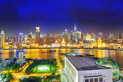 Beautiful view of  Shanghai -  Bund or Waitan waterfront at nigh. T. Shanghai waterfront Bund has historical buildings and it is one of the most famous tourist Stock Photo