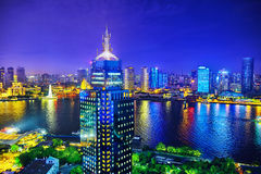 Beautiful view of  Shanghai -  Bund or Waitan waterfront at nigh. T. Shanghai waterfront Bund has historical buildings and it is one of the most famous tourist Royalty Free Stock Image