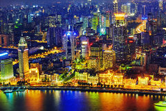 Beautiful view of  Shanghai -  Bund or Waitan waterfront at nigh Stock Photography