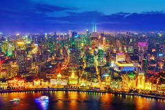 Beautiful view of  Shanghai -  Bund or Waitan waterfront at nigh Royalty Free Stock Image