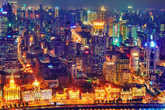 Beautiful view of  Shanghai -  Bund or Waitan waterfront at nigh. T. Shanghai waterfront Bund has historical buildings and it is one of the most famous tourist Royalty Free Stock Photos