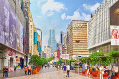 Beautiful view of Shanghai street. SHANGHAI, CHINA - MAY 24, 2015:Beautiful view of Shanghai street Nanjing Lu. Shanghai street Nanjing Lu has many modern malls Royalty Free Stock Photo