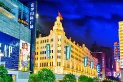 Beautiful view of Shanghai street Nanjing Lu. Royalty Free Stock Images