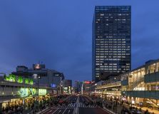 Beautiful view of Shinjuku station in the blue hour, Tokyo, Japan stock photos
